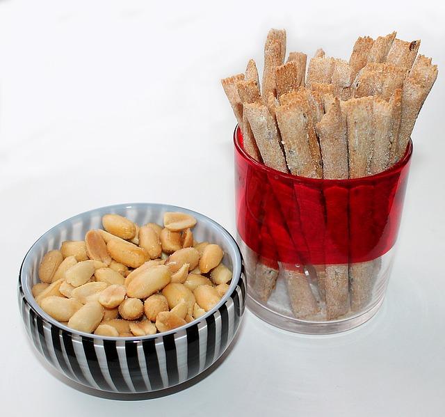 arašídy a tyčinky
