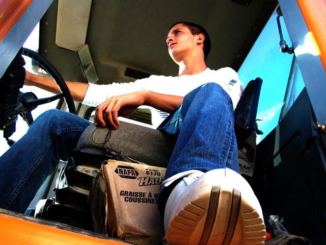 už v kabině nákladního auta